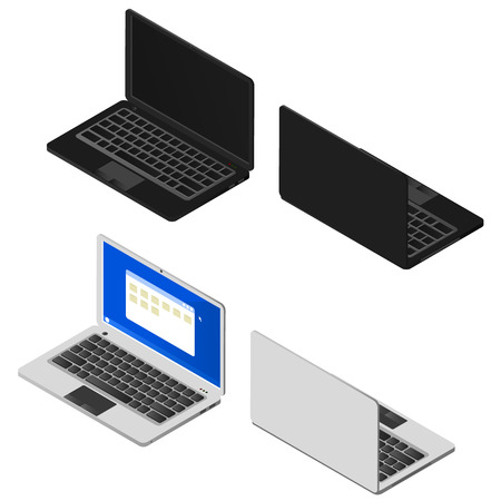 touchpad: Isometric set of laptops. Black and silver computers. Modern electronic system. Portable personal computer. The display, keyboard and touchpad. Vector illustration.