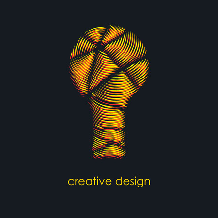 electric power: Creative idea. Abstract light bulb. Bright yellow and red colors. Icon for your company. Logo success. Team of creative people. The resonant waves. Vector illustration. Illustration