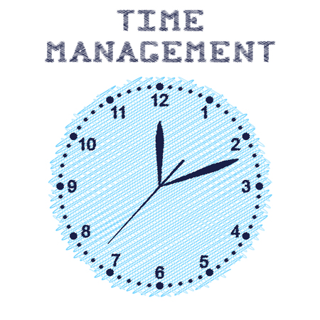 exact: Time management. Round wall clock blue colour. Sketch. Clockwise. Three arrows on the dial. The exact time. Vector illustration.