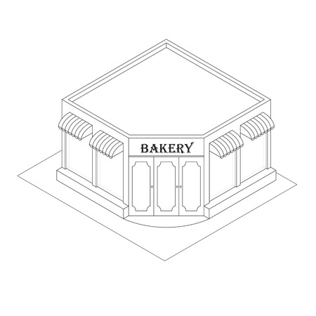 baked goods: Isometric Bakery. Linear style. Black and white. Little shop of pastries. Your own small business. Pastries and baked goods. Flat isometric. Vector illustration.