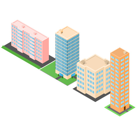 townhouses: Set of isometric buildings. Houses and high-rise offices. The modern architecture. Townhouses. Vector illustration. Illustration