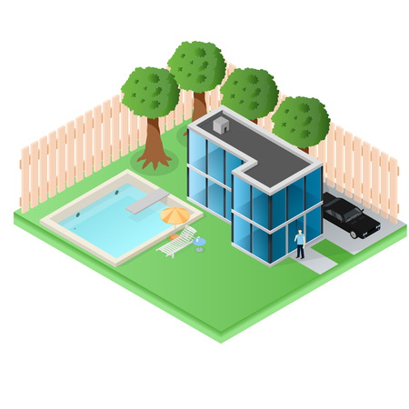 Large country cottage made of glass. A house in the suburbs. Residential house of a rich man. Pool in the yard. Wooden fence. Black car. The man with the phone. Vector illustration.