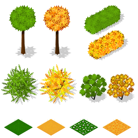 Isometric trees, bushes, grass, flowers. Summer green foliage. Yellow autumn foliage. Ecology and landscaping. Nature and the ecology of the planet. Vector illustration