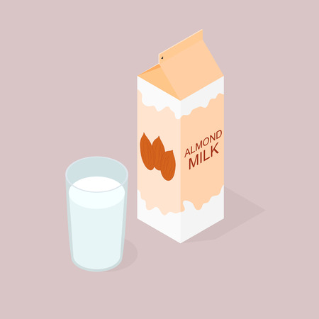 The package of almond milk. The isometry. The glass of milk. Vegan and vegetarian food. Natural product. The benefits of nuts. Milkshake in a glass. Vector illustration. Illustration