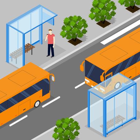 transporte terrestre: Dos autobuses en direcci�n contraria de la ciudad. isom�trica plana. Dos paradas de autob�s. La gente que espera para el transporte terrestre. Los �rboles a lo largo de la carretera. Ilustraci�n del vector.