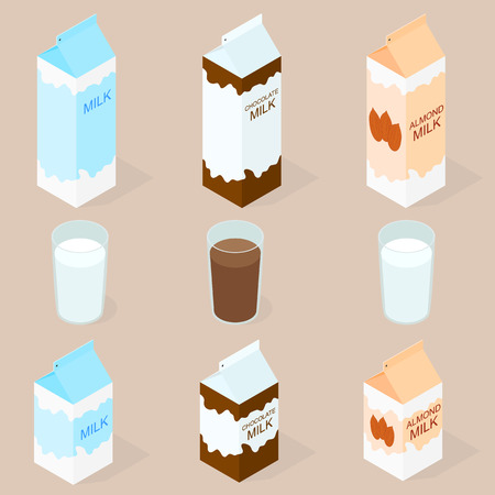 Package of almond milk, chokolate milk and cow milk. The isometry. The glass of milk. Vegan and vegetarian food. Natural product. Healthy food. Milkshake in a glass. Big and small box. Vector illustration.