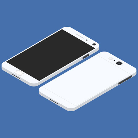 mobile communication: Cell phone. Flat isometric. Mobile device. Modern technologies of communication. Communication and management. White smartphone. Touchscreen display. Vector illustration.