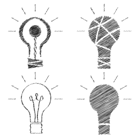 negligent: Doodle light bulbs. The black outline of incandescent lamps. A set of sketches. Creative idea. Insight icons. Negligent design. Vector illustration.