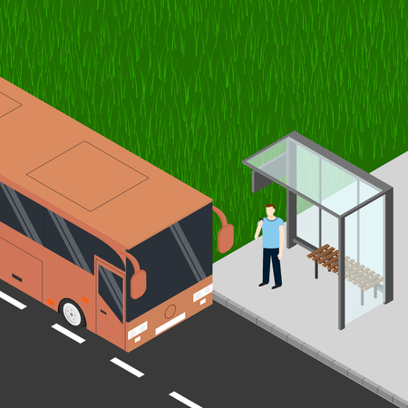 tourist bus: Isometric tourist bus. Man with cell phone at the bus stop. Waiting for the bus. Realistic bus in a flat style. Urban transport for passengers. Vector illustration. Illustration