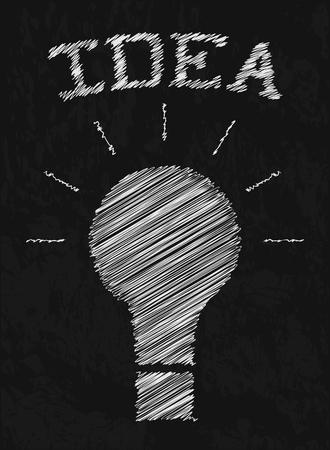 sloppy: Creative idea. Doodle light bulbs. Drawing with chalk on black Board. Sloppy sketch design. Insight. Vector illustration. Illustration