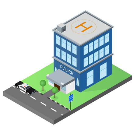 precinct station: The building of the police station in the isometric. Police car. The facade of the building. Map of the area. Skyline. The two-story police building. Vector illustration.