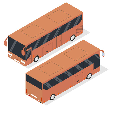 omnibus: Isometric tourist bus. Realistic bus in a flat style. The front and back. Urban transport for passengers. Transport of people and things. Vector illustration.