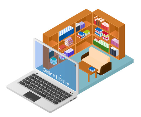 educational materials: Online library. A web site with a collection of electronic books. Educational materials. Concept Laptop with the library. E-education. Vector illustration.