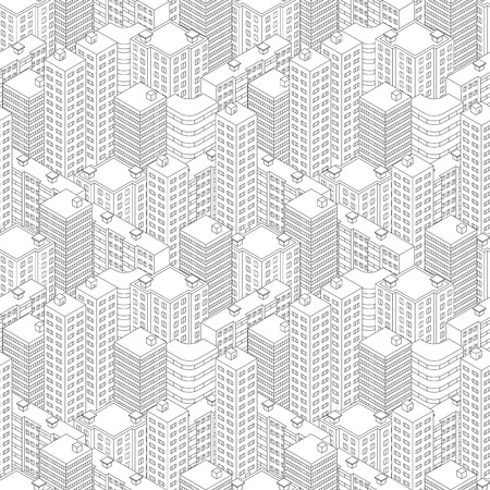 Town in isometric view. Seamless pattern with houses. Linear style. Black and white background. Modern city skyline. Vector illustration.