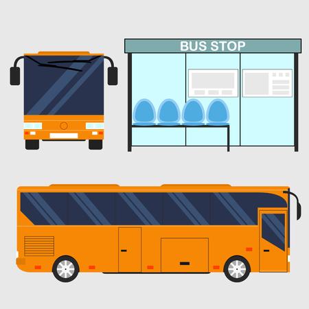 transporte terrestre: El bus turístico. estilo plano. Lateral y frontal. el transporte de color naranja brillante. Parada de autobús. Transporte terrestre. Ilustración del vector.