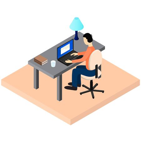 freelancer: A freelancer works. Workplace. Home workspace. A man sits at a Desk. Laptop, Desk lamp, book, glass of water. Working environment. Vector illustration.