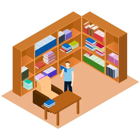 comfort classroom: Library isometric. Man reading a book. Comfortable place for reading books. The personal library in the house. Bookshelves with stacks of books. A work Desk and a sofa. Vector illustration.