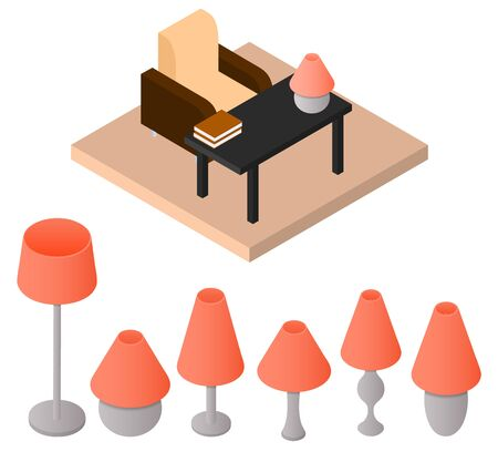 piece of furniture: A set of isometric lamps. Table and floor lamp. A piece of furniture. Electric lighting. The Desk and chair. Orange lampshade. Vector illustration.