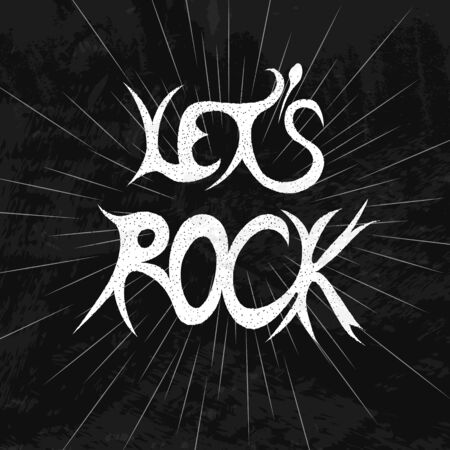 heavy metal: Lets rock. White lettering on a black grunge background. Heavy metal. The direction of the music. Subculture. Vector illustration.
