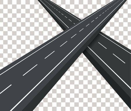 Dos carretera asfaltada recta. Las carreteras que se cruzan. Carretera en un fondo transparente. La pista está vacía. El camino hacia la aventura y los viajes. Ilustración del vector.