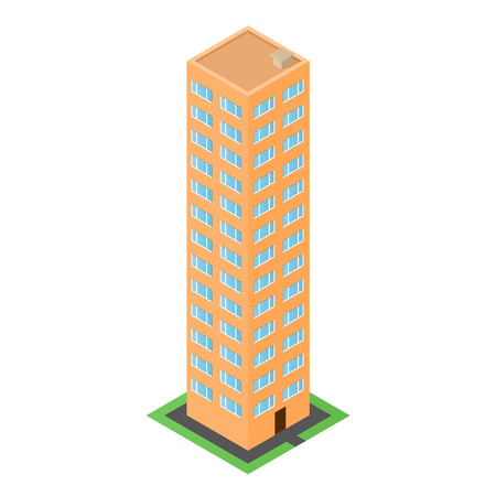 front door: Orange house in the isometric. The front door. Green lawn. Isometric building. The facade of the residential building. Mapping of the area. Vector illustration