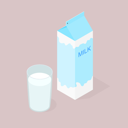 Package natural milk. The isometry. A glass of delicious and healthy milk for Breakfast. Natural product. The benefits of milk. Milkshake in a glass. Cow or goat milk. Vector illustration. Illustration