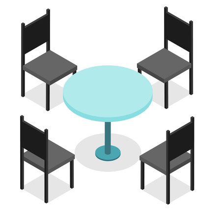 round chairs: Four black chairs and blue round table. Flat isometric. Wood products. Isolated on white background. Vector illustration.