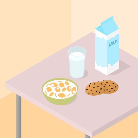 milk and cookies: Breakfast for the whole family. A carton of milk. The flakes in the bowl milk. Cookies with chocolate chips. Healthy Breakfast. The table with the food. Vector illustration.