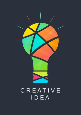 Idea creativa. Bombilla abstracta. Colores brillantes. Icono de su empresa. Logo éxito. Equipo de personas creativas. Ilustración del vector.