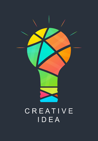 Creative idea. Abstract light bulb. Bright colors. Icon for your company. Logo success. Team of creative people. Vector illustration. Vettoriali