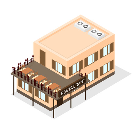 overhang: The two-storey building - cafe. Street terrace. Dining tables and chairs. Business lunch. The luxurious restaurant. Flat Isometric. Vector illustration. Illustration