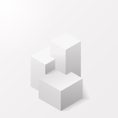 A pedestal on a white background. The isometry. White stand for the winners. The first, second and third place. The award Champions of competitions. Vector illustration.