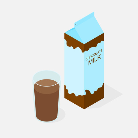 litre: Package of chocolate milk. The isometry. A glass of milk with cocoa taste. Delicious Morning Breakfast. Natural product. The benefits of milk. Milkshake in a glass. Cow or goat milk. Vector illustration. Illustration