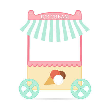 Ice cream tent. Flat style. Mobile kiosk with dessert. Pink candy Store for children. The cooling device. Vector illustration. Çizim