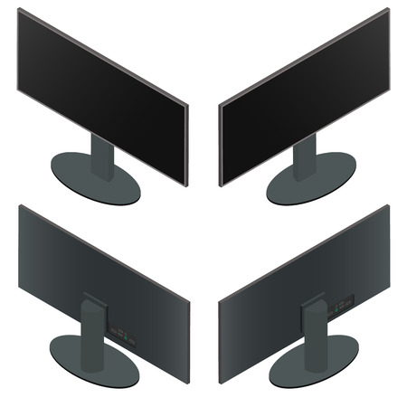 ultra modern: Ultra wide monitor. Flat isometric. The front and back sides. Black monitor on a stand. Large screen. Computer components. Isolated on white background. Vector illustration.