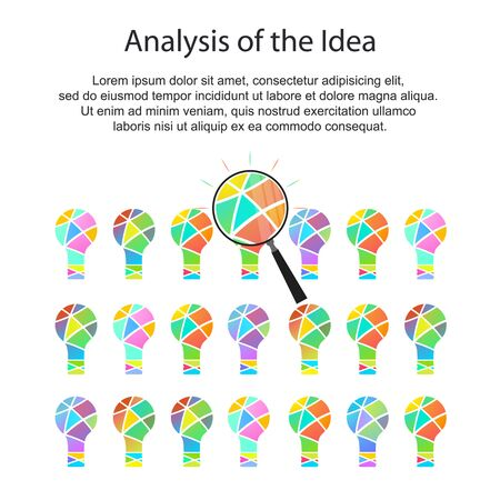 ideological: The analysis of ideas. The idea under the magnifying glass. Ideological inspiration. Analysis of the data. Abstract colored light. Vector illustration.
