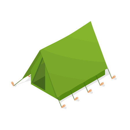 refuge: Green tourist tent in the isometric. A camping weekend. Accommodations in the forest. Element of tourism, hunting and fishing. Active holiday. Vector illustration. Illustration