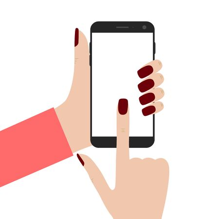 touch screen phone: Mobile phone in the hands of women. Womens fingers. Black smartphone. Blank touch screen. A flat style. Isolated on white background. Vector illustration.