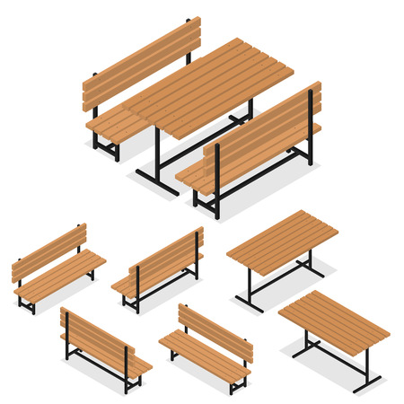 wooden bench: Benches and a table. Flat isometric. A place for rest, relaxation and picnic. The element of the Park or grove. Wooden bench and table. The place for meeting friends. Vector illustration.