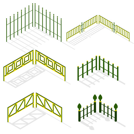 iron fence: Iron fence with shadow in isometric. The metal fence green and yellow color. Set urban decorative elements. Vector illustration.
