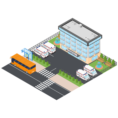 ambulances: Ambulance and hospital in the isometric. To call for help. Bus stop hospital. Orange city bus. Ambulances in the Parking lot. Vector illustration. Illustration