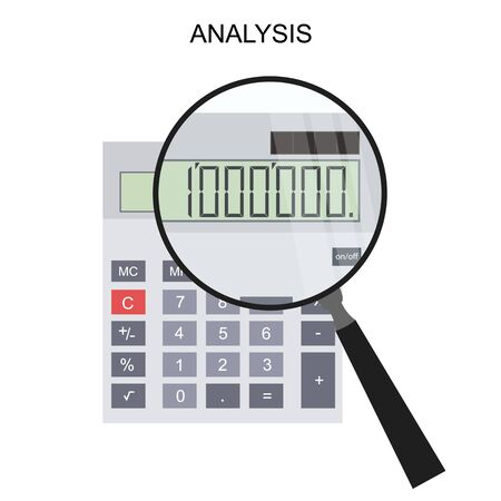 million: Calculator and magnifying glass. Flat style. Million. The financial calculation. Vector illustration. Illustration