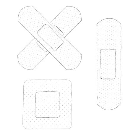 bactericidal: Bactericidal plaster. Doodle sketch. Black and white drawing. Isolated on white. Hand Drawn. The subject of first aid. From first aid kits. Vector illustration.