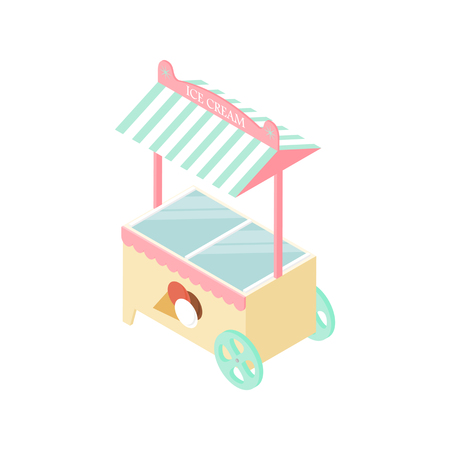 goodies: Ice cream kiosk in the isometric. Mobile tent. Delicious dessert. Store Goodies. A ball of ice cream in a waffle Cup. Fridge. Vector illustration. Illustration