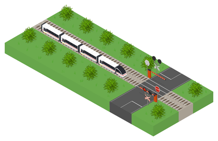 highspeed: Fast isometric modern train. Public transport. High-speed intercity transportation of passengers. The barrier at the intersection. The landscape along the railway. Forbidding signal of the traffic light. Vector illustration. Illustration