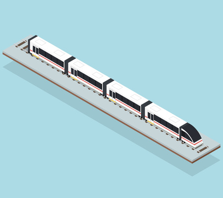 Intercity fast train. Flat isometric. Transportation underground. Passenger transport. Travel and tourism by train. Rails and high-speed train. Vector illustration. Ilustração