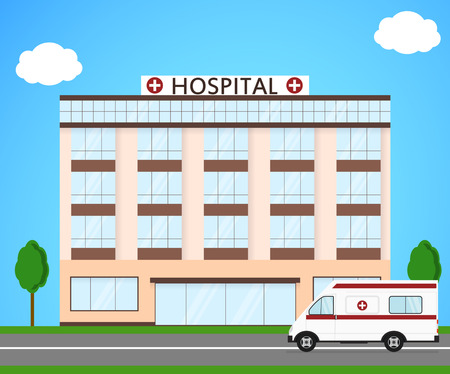 car care center: Hospital and ambulance. Flat style. Street landscape. The building of a clinic. Ambulance for the sick. A civilian medical institution. Vector illustration.