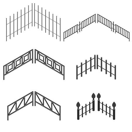 Iron fence in isometric. The metal fence. Set urban decorative elements. Vector illustration. Illustration