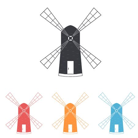 baked goods: Windmill. The flat icons.  subsistence agriculture. Label baked goods. Vector illustration.