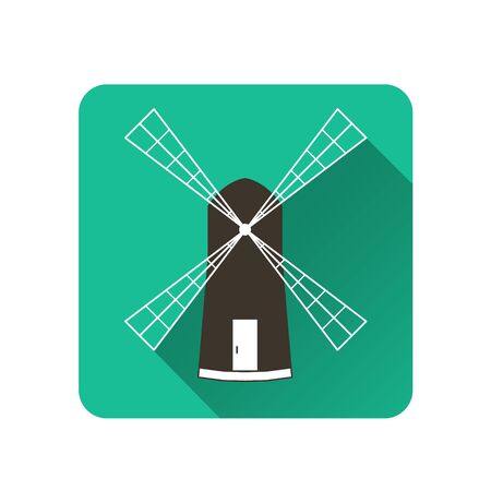 baked goods: Windmill. Flat icon with shadow. subsistence agriculture. Label baked goods. Vector illustration. Illustration